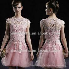 E0001 Lace Tulle Evening Dress / Short Party Dress Vestido de noiva
