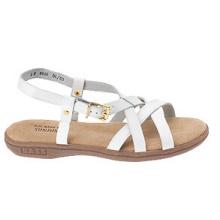 Sandalias casuales de cuero blanco con tiras