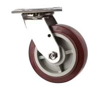 Robinet pivotant et de service fixe robuste avec roulette à roulettes PU Roulette industrielle