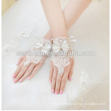 Blanco caliente venta de novias vestido de novia guantes de novia sin dedos Rhinestone encaje guantes de novia de satén