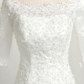 luxury Lace hand sewn beads bandage sleeve wedding dress guangzhou wholesale market