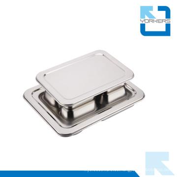 Bandeja de lío de acero inoxidable 4 compartimientos de placas de comida rápida