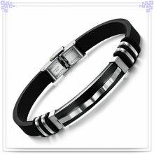 Pulseira de borracha pulseira de silicone do aço inoxidável (LB239)
