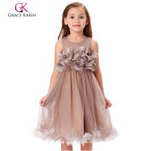 Grace Karin Blume verzierte ärmellose Crew Hals Khaki Blume Mädchen Prinzessin Festzug Party Kleid CL010456-1