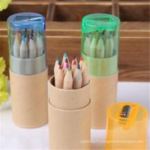 mini crayon 6 couleurs en bois avec taille-crayon