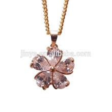 Collar de flor de circón de relleno de oro de diseño simple de moda