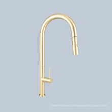 Manípulo do interruptor do lavatório da pia torneira telescópica dourada