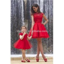 Freies Verschiffen-rotes kurzes Abschlussball-Kleid-hohe Ansatz-Kappen-Hülse reizvolles sehen durch offenes rückseitiges elegantes importiertes Partei-Kleid ML112