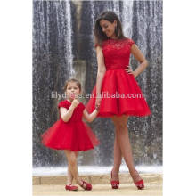 Free Shipping Red Short Prom Dress High Neck Cap Sleeve Sexy See Through Open Back Elegant Imported Party Dress ML112