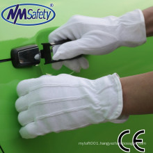 NMSAFETY 100% bleached cotton interlock liner with mini pvc dots cloth glove