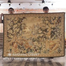 4.4'x6.2' Handmade Aubusson Tapestry Decorative Rug