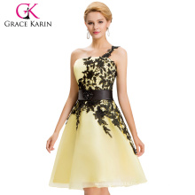 Grace Karin New Color Sexy Short One Shoulder Yellow Cocktail Party Dresses CL4288-4