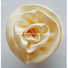 Cream Wedding Ribbon Rosette Shoe Clips