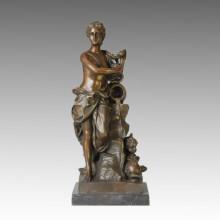 Figura Desnuda Estatua Señora Baño Escultura De Bronce TPE-122