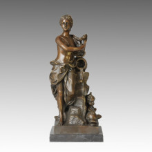 Nude Figure Statue Lady Bathing Bronze Sculpture TPE-122