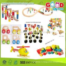2015 Оптовые и новые предметы Деревянные игрушки для автомобилей, Железнодорожный комплект для поездок Дети, развивающие деревянные игрушки для автомобилей, Деревянный автомобиль высокого качества
