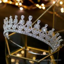 Nuevo Vintage elegante Zircon Zirconia tocado de desfile tocado nupcial boda Tiaras corona