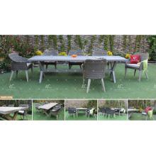 COLLECTION CANARIENNE - Chaussures et tableaux PE Poly Rattan en paille 6 chaises et table pour meubles de jardin extérieur