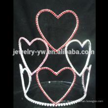 Hotsale Einzigartiges Silber Herz Wappen Tiara Krone Kristall Strass Tiaras Kamm für Mädchen