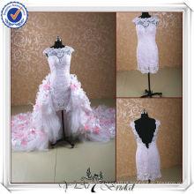 JJ0098 alto pescoço removível longo tren laço vestido de casamento alto-baixo