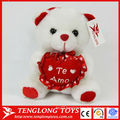 White plush LOVE bear toys with heart for wedding