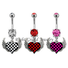 Anillos de acero piercings joyas Cubic Zirconia corazón vientre 14G