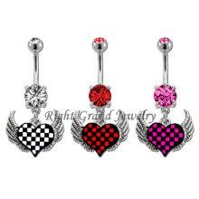 Anéis de aço Piercing jóias Cubic Zirconia coração barriga de 14g