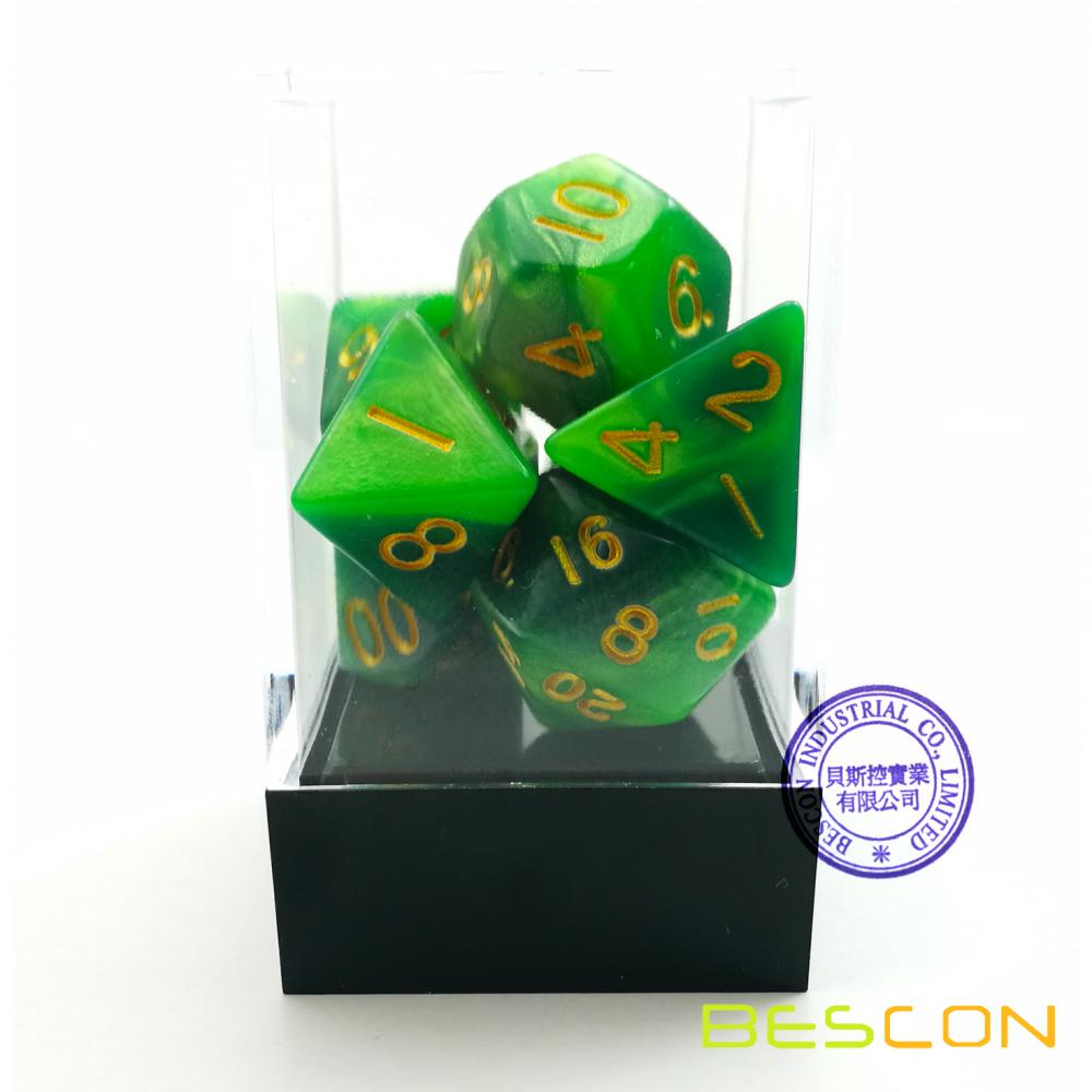 Gemini Two Tone Swirled Green RPG Dice Set of 7 in Brick Box Package, Complete Polyhedral Dice Set of d4 d6 d8 d10 d12 d20 d%