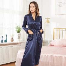 Women's Long Silk Robe Nightgown Sleepwear