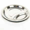 high quality stainless steel two compartment divided dish dinner plate for adults
