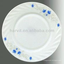 Verre blanc opale Assiette personnalisée 10.5 '' Plat plat Plats pour restaurants