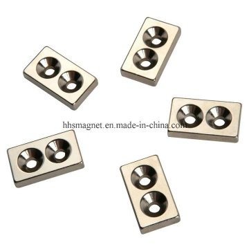 Permanent Rare Earth Neodymium Block Magnet with Countersunk