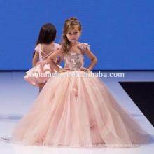Schöne rosa Farbe Tull Blume Ballkleid Maxi ärmellose Kleider Designs neues Modell Mädchen Kleid