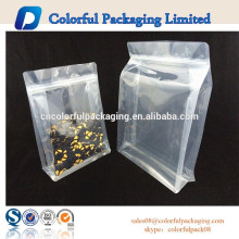 Hot sell food packaging stand up bag zipper pe bag transparent plastic bag