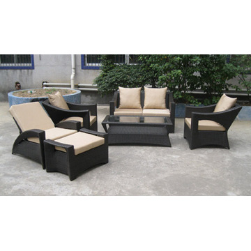 Wicker Garden Dining Outdoor Furniture com otomanos