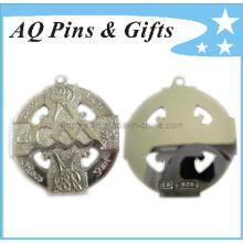 Prata, medalhão, corte, saída