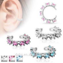 La joyería no-Piercing del oído CZ Gem Rimmed Rhodium-Plated la joyería del cuerpo de cobre amarillo 3 opciones del color