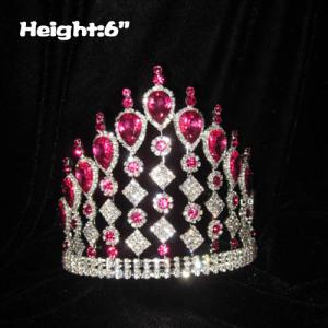 Venta al por mayor Crystal Pageant Crowns With Pink Diamonds