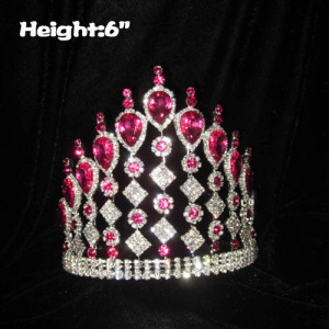 Coroas de concurso de cristal por atacado com diamantes rosa