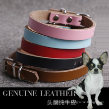 Plain Genuine Real Leather Dog Collar Puppy Pet Small Medium Large