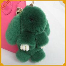 Copenhagen Green Colour Rex Rabbit Fur Keyring Accessory For Bag Charm