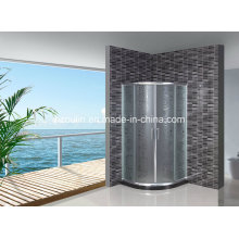 Acid Glass Shower Door with Black Water Bar (AS-904)
