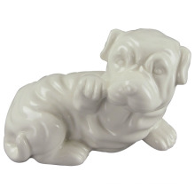 Artisanat en céramique en forme d'animal, Lovely Dog with White Glaze