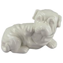Animal em forma de artesanato de cerâmica, cão encantador com branco esmalte