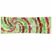 Arte colorido de la pared de la lona del tríptico para Dropship / impresiones abstractas modernas de la lona / arte de la pared del panel 3 remolino Diseño