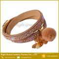 Heiß! Crystal Gepflastert Armband Halskette Benutzerdefinierte Lederarmband