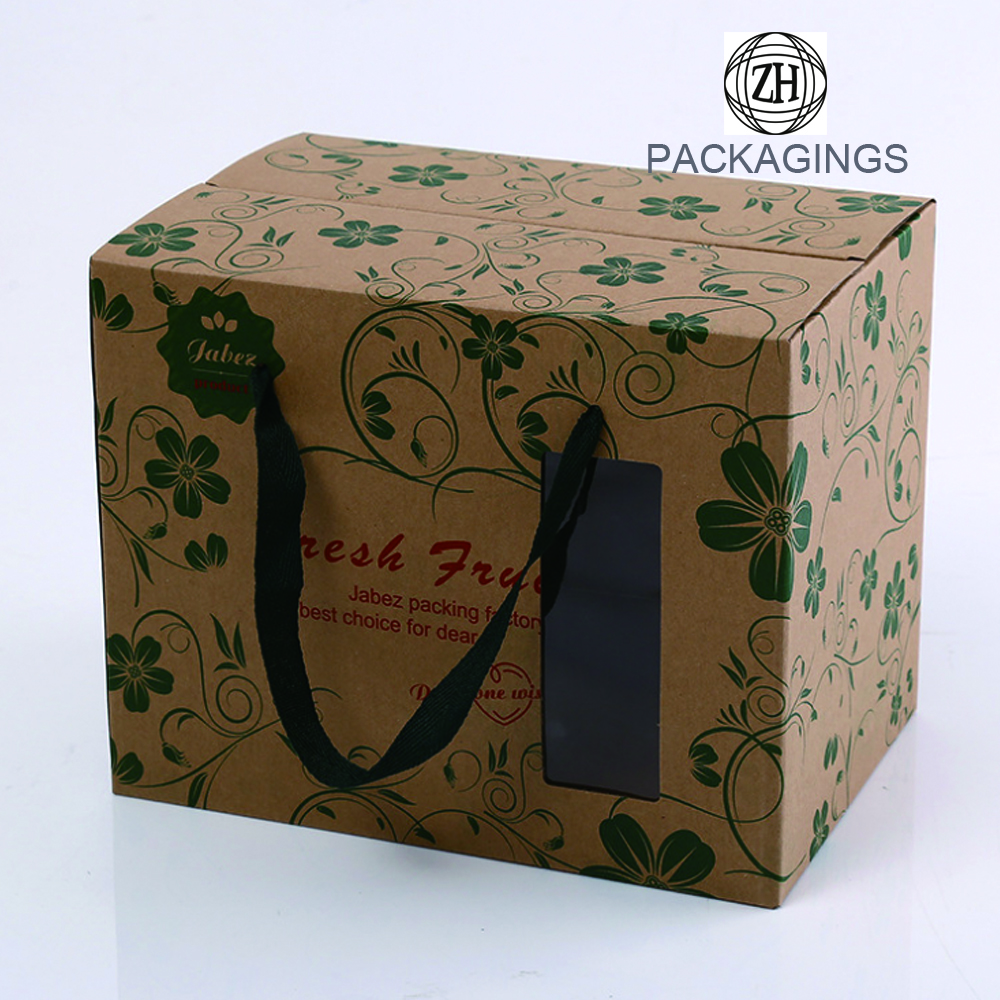 Kraft paper cardboard fruit box with handle