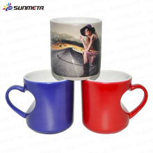 Heart Shape Ceramic sublimation color changing cup mug hot water color change mug