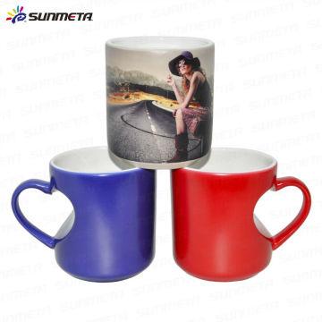 Heart Shape Ceramic sublimation color changing cup mug hot water color change mug