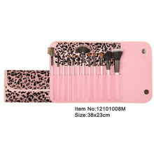 12pcs pink plastic handle animal/nylon hair makeup brush tool set with pink bling button case